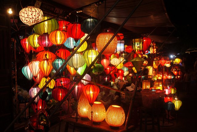 Lantern shops at Hoi An, Vietnam